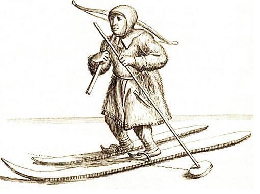 Sami avec arbalète et ski 1674