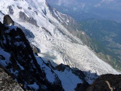 Vue du glacier des Bossons, depuis le refuge des Cosmiques.